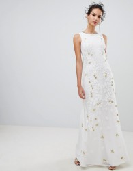 Frock & Frill Embellsihed Column Maxi Dress - White