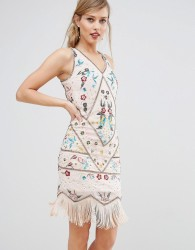 Frock & Frill Embroidered Flapper Dress - Cream