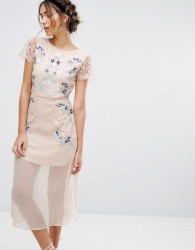 Frock & Frill Embroidered Panelled Midi Dress - Pink