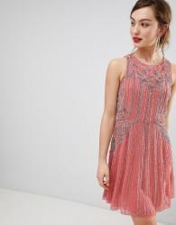 Frock & Frill Heavily Embellished Swing Dress - Pink