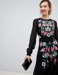 Frock & Frill Long Sleeve Embroidered Dress With Open Back - Black