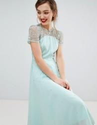 Frock & Frill Short Sleeve Skater Dress With Embellished Detail - Green