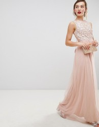 Frock & Frill Tulle Maxi Dress With Embellished Upper - Pink