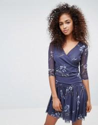 Ganni Etsu Mesh Wrap Front Dress - Navy