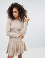 Ganni Harrison Knitted Dropped Hem Dress - Brown