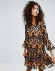 Ganni Larkin Lace Dropped Hem Dress - Brown