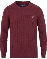 GANT Cotton Cable Crew Neck Purple Fig