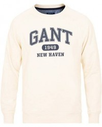 GANT Fall Logo Crew Neck Sweatshirt Off White