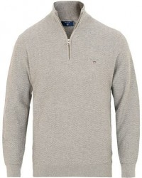 GANT Herringbone Textured Half Zip Grey Melange