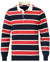 GANT Knitted Striped Rugger Bright Red men L Rød