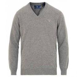 GANT Lambswool V-Neck Pullover Grey Melange