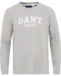 GANT Logo Long Sleeve Crew Neck Tee Grey Melange