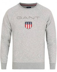GANT Shield Crew Neck Sweatshirts Grey Melange