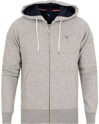GANT The Original Full Zip Hoodie Grey Melange