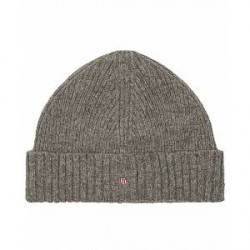 GANT Wool Lined Beanie Dark Grey Melange