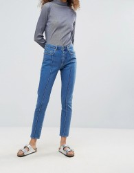 Gestuz Cecily High Rise Buttoned Mom Jeans - Blue