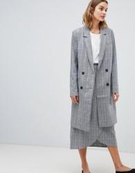 Gestuz Danielle tailored check longline coat - Grey