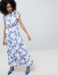 Gestuz Floral Maxi Dress With Frill Shoulder - Multi
