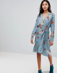 Gestuz Floral Printed Wrap Dress - Blue