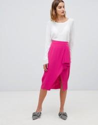 Gestuz Mia ruffle slit front midi skirt - Pink