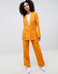 Gestuz Orange Wide Leg Trousers With Feather Pattern - Orange