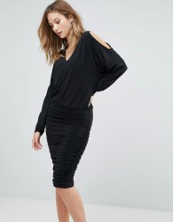 Gestuz Penn Cold Shoulder Shift Dress - Black