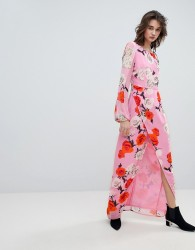 Gestuz Rose Printed Maxi Dress With Open V Back - Pink
