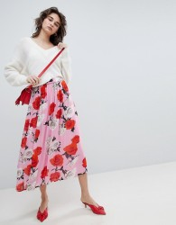 Gestuz Rose Printed Midi Skirt - Pink