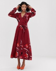 Gestuz Sille midi wrap dress in floral - Red