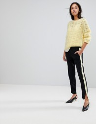 Gestuz Sporty Trousers With Yellow Stripe - Black