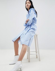 Gestuz Tam Stripe Shirt Dress with Ruffle Details - Blue
