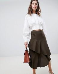 Gestuz Vermine Asymmetric Tiered Midi Skirt - Black