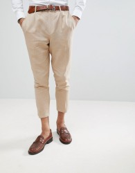 Gianni Feraud Pleated Linen Cropped Trousers - Stone