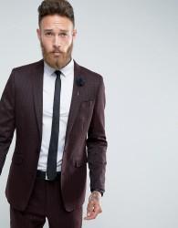 Gianni Feraud Skinny Fit Burgundy Geometric Print Suit Jacket - Red