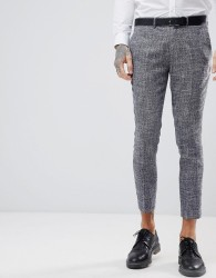 Gianni Feraud Skinny Fit Nepp Cropped Suit Trousers - Navy