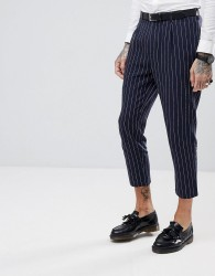 Gianni Feraud Skinny Fit Pinstripe Cropped Suit Trousers - Navy