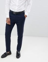 Gianni Feraud Slim Fit Large Navy Herringbone Wool Blend Suit Trousers - Navy