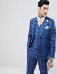 Gianni Feraud Slim Fit Wedding Check Suit Jacket - Navy