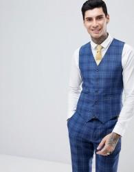 Gianni Feraud Slim Fit Wedding Check Waistcoat - Navy