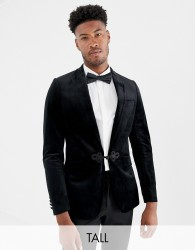 Gianni Feraud Tall premium skinny fit velvet satin lapel blazer - Black