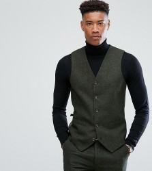 Gianni Feraud TALL Slim Fit Green Donnegal Wool Blend Waistcoat - Green