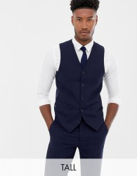 Gianni Feraud Tall slim fit large navy herringbone wool blend waistcoat - Navy