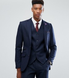 Gianni Feraud TALL Slim Fit Navy Herringbone Suit Jacket - Navy