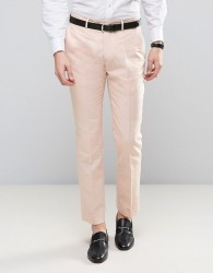Gianni Feraud Wedding 55% Linen Slim Fit Suit Trousers - Pink
