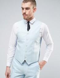 Gianni Feraud Wedding 55% Linen Slim Fit Waistcoat - Blue