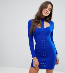 Ginger Fizz Lace Up Mini Bodycon Dress - Blue