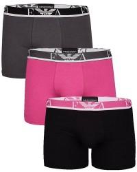 Giorgio Armani Emporio Armani 3-pak Boxer Brief Pink, Sort og Grå 111473 8P715 54520