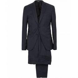 Giorgio Armani Emporio Armani F-Line Fitted Flannel Suit Dark Blue
