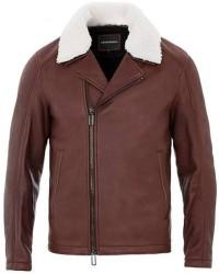 Giorgio Armani Emporio Armani Shearling Leather Jacket Burgundy men 50