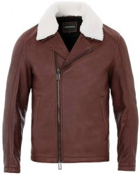 Giorgio Armani Emporio Armani Shearling Leather Jacket Burgundy men 54